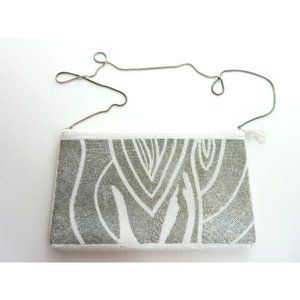 Vintage White Tiger Beaded Purse Clutch